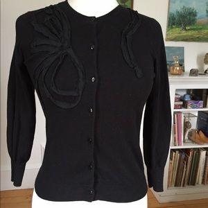 J. Crew Cotton Appliqué Black Cardigan Sweater XS